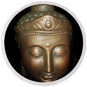 Round Beach Towel featuring the photograph Bronze Buddha Head by Joan Reese