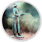 Round Beach Towel featuring the photograph Statue Of The Bandit Queen Belle Starr By Jo Mora by Janette Boyd