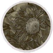 Bronzed Out Sunflower Round Beach Towel