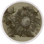 Bronzed Out Sunflower Round Beach Towel