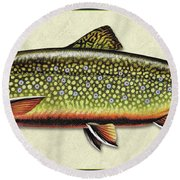 Brook Trout Id Round Beach Towel