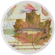Brook Trout On Fly #2 Round Beach Towel by Ralph Root