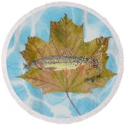 Brook Trout On Fly Round Beach Towel by Ralph Root