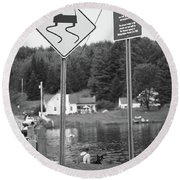 Round Beach Towel featuring the photograph Brookfield, Vt - Floating Bridge 2 Bw by Frank Romeo