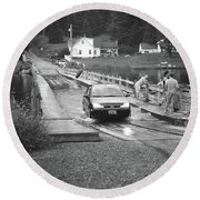 Round Beach Towel featuring the photograph Brookfield, Vt - Floating Bridge 3 Bw by Frank Romeo