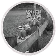 Round Beach Towel featuring the photograph Brookfield, Vt - Floating Bridge 4 Bw by Frank Romeo