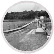 Round Beach Towel featuring the photograph Brookfield, Vt - Floating Bridge 5 Bw by Frank Romeo