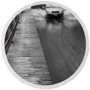 Round Beach Towel featuring the photograph Brookfield, Vt - Floating Bridge Bw by Frank Romeo