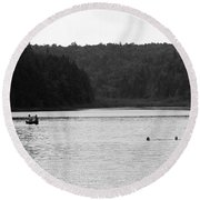 Round Beach Towel featuring the photograph Brookfield, Vt - Swimming Hole 2006 Bw by Frank Romeo