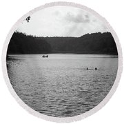 Round Beach Towel featuring the photograph Brookfield, Vt - Swimming Hole Bw 2 by Frank Romeo