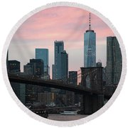 Brooklyn Bridge New York Round Beach Towel