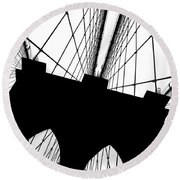 Brooklyn Bridge Architectural View Round Beach Towel by Az Jackson