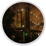 Brooklyn Bridge At Night Round Beach Towel