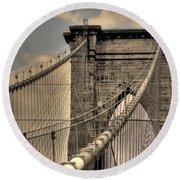 Brooklyn Bridge Round Beach Towel by David Bearden