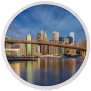 Round Beach Towel featuring the photograph Brooklyn Bridge From Dumbo by Susan Candelario