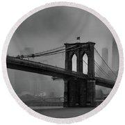 Brooklyn Bridge In A Storm 2 Round Beach Towel