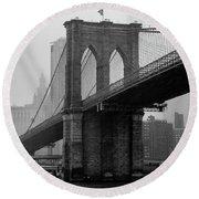 Brooklyn Bridge In A Storm Round Beach Towel