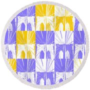 Brooklyn Bridge In Purple And Gold Round Beach Towel