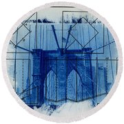 Brooklyn Bridge Round Beach Towel by Jane Linders