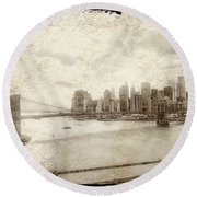 Round Beach Towel featuring the painting Brooklyn Bridge by Joan Reese