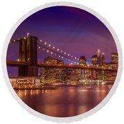 Round Beach Towel featuring the photograph Brooklyn Bridge Sunset  by Melanie Viola