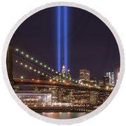 Brooklyn Bridge Tribute In Light Round Beach Towel