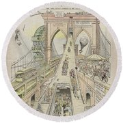 Round Beach Towel featuring the photograph Brooklyn Bridge Trolley Right Of Way Controversy 1897 by Daniel Hagerman