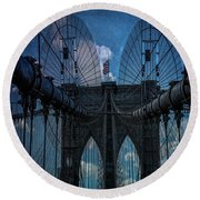 Round Beach Towel featuring the photograph Brooklyn Bridge Webs by Chris Lord