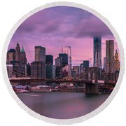 Round Beach Towel featuring the photograph Brooklyn Bridge World Trade Center In New York City by Ranjay Mitra