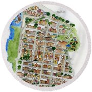 Brooklyn Heights Map Round Beach Towel