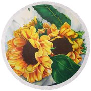 Round Beach Towel featuring the painting Brooklyn Sun by Angela Armano