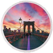 Brooklyn Sunset Round Beach Towel by Rick Berk