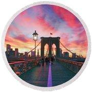 Brooklyn Sunset Round Beach Towel by Rick Berk