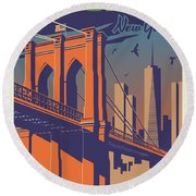 Brooklyn Vintage Travel Poster Round Beach Towel