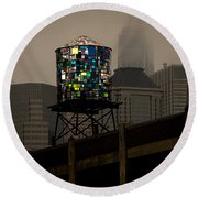 Round Beach Towel featuring the photograph Brooklyn Water Tower by Chris Lord
