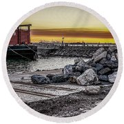 Brooklyn Waterfront Sunset Round Beach Towel by Jeffrey Friedkin
