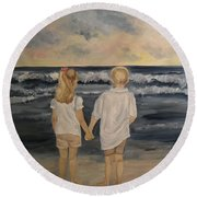 Round Beach Towel featuring the painting Brother And Sister by Julie Brugh Riffey