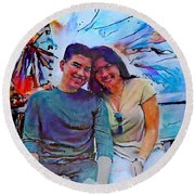 Brother And Sister Love Round Beach Towel