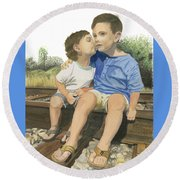 Brotherly Love Round Beach Towel by Ferrel Cordle