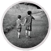 Round Beach Towel featuring the photograph Brotherly Love by Lynn Bolt