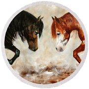 Brothers Hawk And Bo Round Beach Towel by Barbie Batson