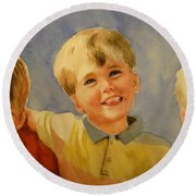Brothers Round Beach Towel by Marilyn Jacobson