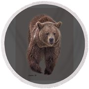 Brown Bear 8   Round Beach Towel