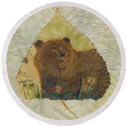 Brown Bear Round Beach Towel by Ralph Root