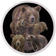 Brown Bears 8 Round Beach Towel