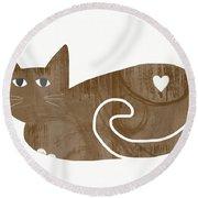 Brown Cat- Art By Linda Woods Round Beach Towel