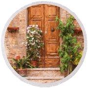 Brown Door Of Tuscany Round Beach Towel