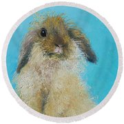 Brown Easter Bunny Round Beach Towel