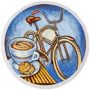 Brown Electra Delivery Bicycle Coffee And Amaretti Round Beach Towel