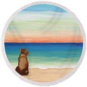 Brown Lab Dog On The Beach Round Beach Towel